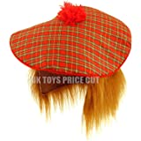 Mens Scottish Scots Tartan Tam Hat & Ginger Hair Wig Stag Night Fancy Dress Hat
