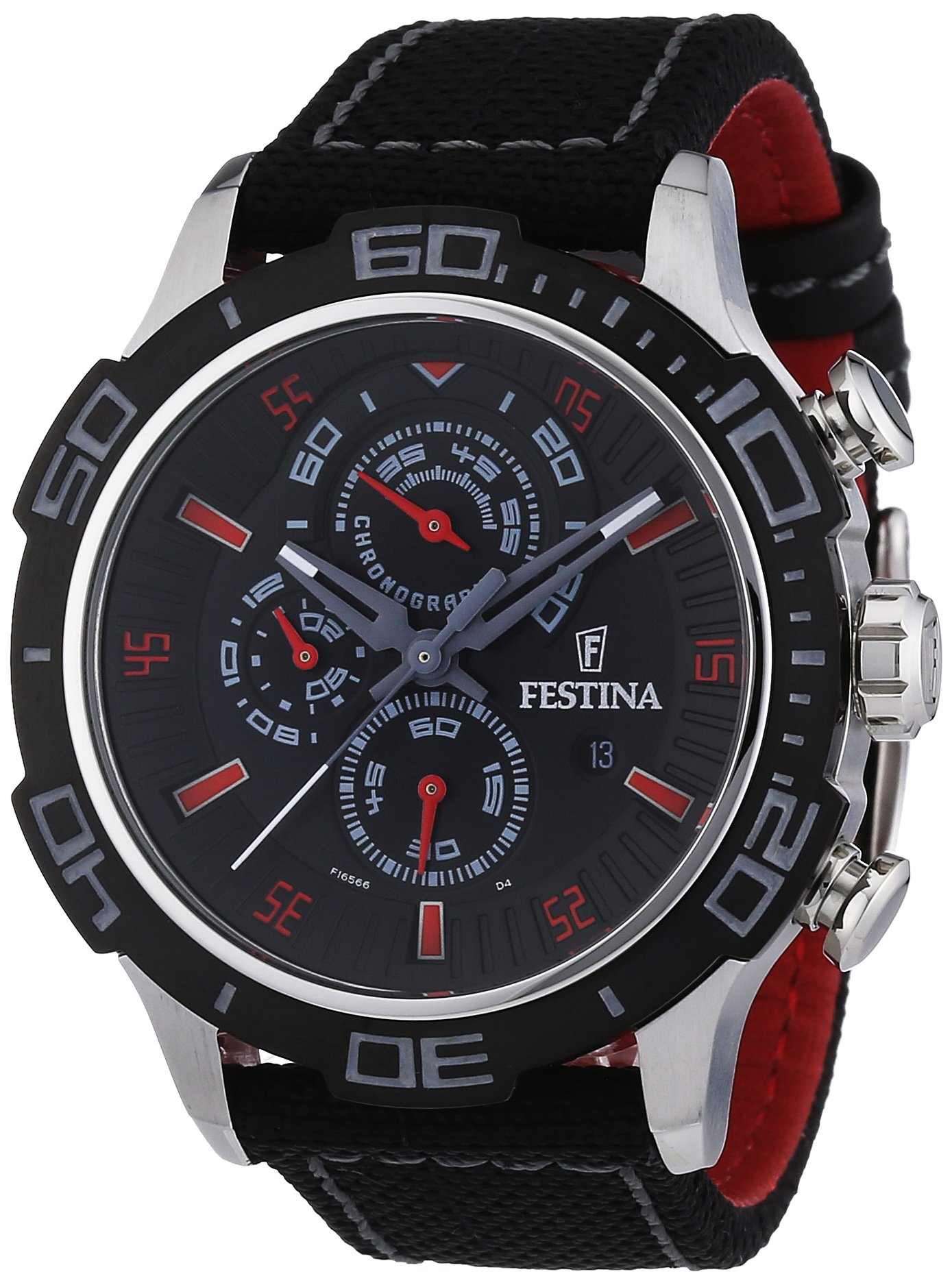 Festina La Vuelta F16566/7 – Reloj cronógrafo de cuarzo para hombre, correa de nailon color negro (cronómetro)