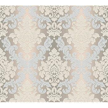 Vliestapete Mustertapeten mit Glitter Barock Ornament Klassisch Beige Grau
