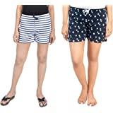 A9- Women Printed White, Dark Blue Shorts - Pack of 2