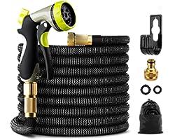 GIGALUMI Expandable Garden Hose 100Ft/30M Expanding Garden Hose Pipe with Brass Connectors, 8 Function Spray, Flexible Anti-K