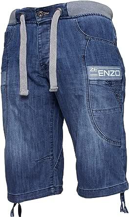 Enzo Mens Denim Shorts Elasticated Rib Waist Half Pants Sizes 28-48