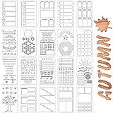 SAVITA 20 Pièces 10,2x17,8 cm Ensemble de Pochoirs de Journal Fournitures de Journal pour Cahier Journal Agenda Album Modèle