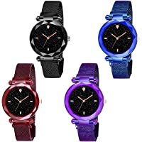 Shunya Laxurius Looking 2020-4 Magnet Buckle Starry Sky Quartz Watches for Girls & Women Analog Watch Combo Pack-4
