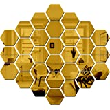 Bikri Kendra® - Art BK 222,Hexagon 31 Golden - 3D Acrylic Decorative Mirror Murals Wall Stickers