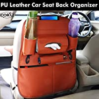 Coku Universal Back Seat Car Organizer Multi Pocket Storage with Document, Water, Bottle Tablet and Tissue Holder (Tan)