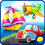 Transport für Vorschulkinder - Kleinkind Lernspiel zum Erlernen von Luft, Wasser, Landfahrzeugen und Verkehrsgeräuschen: ein Auto, ein Zug, ein Flugzeug, ein Ballon, ein Boot usw. Das Spiel beinhaltet Rätsel und Reparaturen, um den Transport