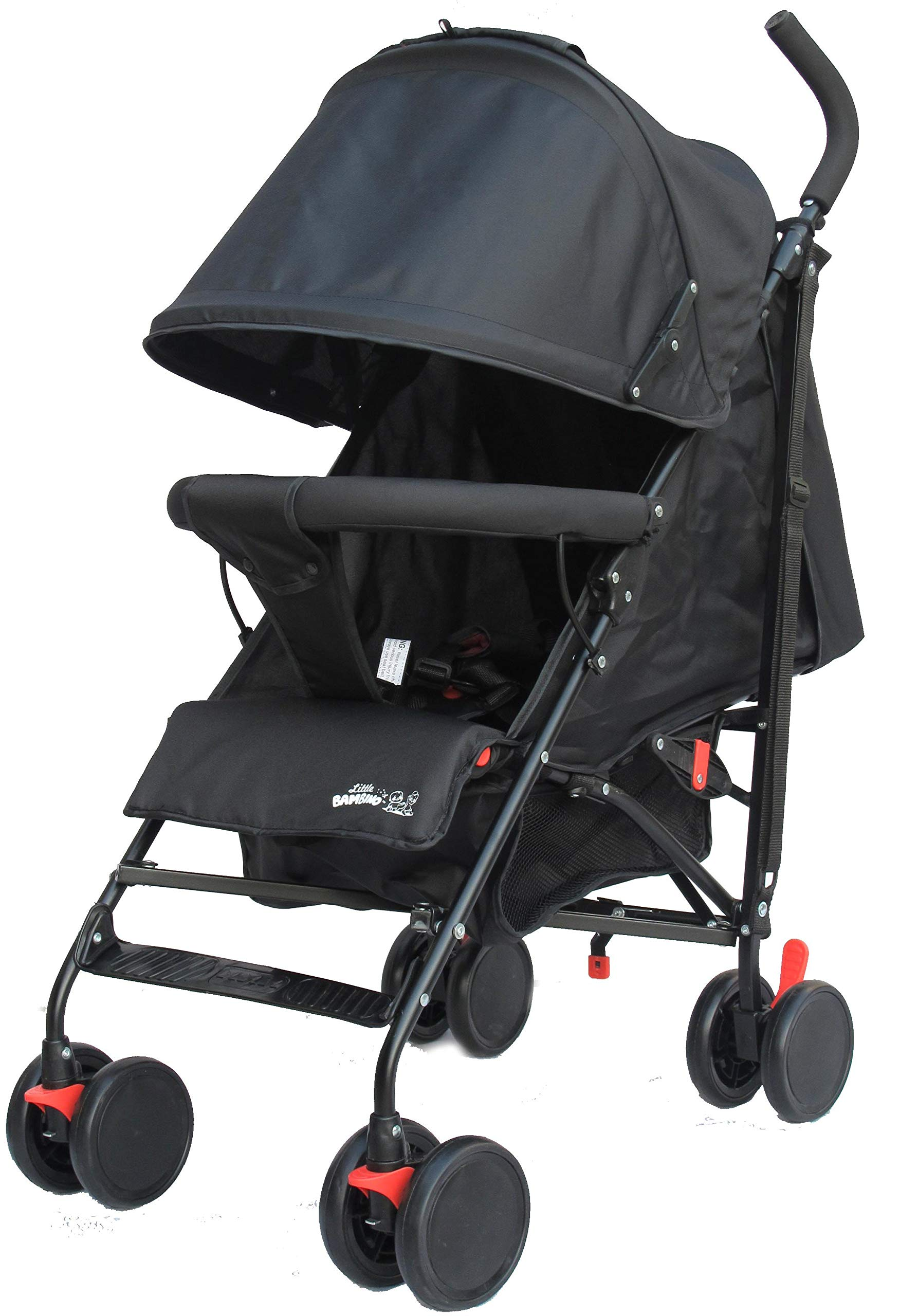 Stroller for Kids Lightweight Buggy Easy Fold Travel Stroller Buggy Foldable for Airplane Travel Cabin Size(Black) Little Bambino ✨Extendable upf 50+ sun canopy and built-in sun visor ✨EASY USAGE - One-hand foldable buggy makes taking your baby for travels or walks a simple pleasure. It could stand on its own so you could take care of your baby with less things to worry about. ✨ADJUSTABLE BACKREST - Travel stroller backrest can be adjusted. Suitable for children from 0 to 36 months 4