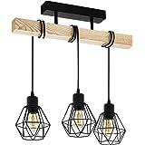 EGLO plafondlamp TOWNSHEND 5, 3 lichtbronnen vintage plafondarmatuur in industrieel ontwerp, retro pendellamp van staal en ho