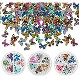 AIEX 90 Stks 3d Vlinder Nagel Charms 18 Kleuren Acryl Vlinder Nagel Charms Voor Nail Art Decoratie (3 Dozen)