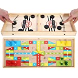 High Quality Fast Sling Puck shot Game with Ludo play set game Two-in-one Wooden Desktop Toy - Board Game Double-Sided for gi