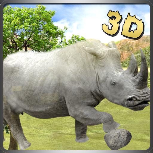Letzte White Rhino Regeln des Dschungels Survival Rampage 3D Spiel: Das Leben im Dschungel Survivor Action spannende Abenteuer Mission Free For Kids 2018 - Rhino 3d-software