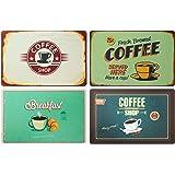 ootb Juego de 4 manteles individuales: Coffee Retro Look Desayuno Café Retro Cartel Coffee Shop – Mesa/Mantel/Mantel/Salvaman