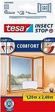 tesa Insect Stop COMFORT Fliegengitter für bodentiefe Fenster - Insektenschutz selbstklebend - Fliegen Netz ohne Bohren - Weiß, 120 cm x 240 cm