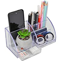 Udgamy Desk Organiser, Clear, 7 Compartment (21 cm x 9.5 cm x 10 cm)