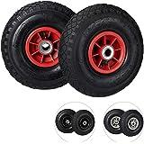 Relaxdays Steekwagenwiel 3.00-4, set van 2 reservebanden, luchtbanden, tot 136 kg, kunststof velg, 260x85 mm, zwart-rood