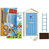 LA PUERTA MÁGICA Ratoncito Pérez Azul + Escalera + Plato + Queso + Felpudo + Llave + Dibujo Fondo de Puerta + Postal de felic
