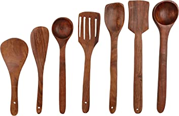Craftgasmic Wooden Spoon Set of 7   2 Frying, 1 Serving, 1 Spatula, 1 Chapati Spoon, 1 Desert, 1 Rice,(Holder not include )
