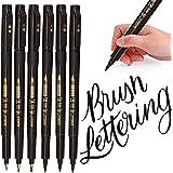 Sinwind 6 Pcs Calligrafia Pennarelli, Pennarello Nero a Punta Doppia per Lettering Ricarica Penne Calligrafia, Disegno, Manga