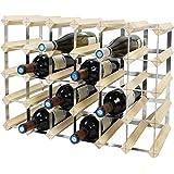 Todeco - Etagère à Vin, Range-Bouteilles, Cave à vin modulable, Casier à Bouteille, 30 Bottles, Bois Naturel, 61,2 x 42 x 22,