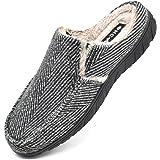 ONCAI Zapatillas de Casa para Hombre-Tartán Pantuflas Hombre de Invierno Memory Foam-Antideslizante Tweed Mocasines Zuecos Pa