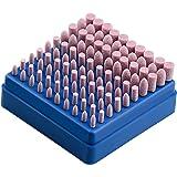 HENTEK 100 stuks schuuropzetstukken slijpen polijstkop 3 mm schacht slijpdoorn gemonteerd slijpen polijstgereedschap