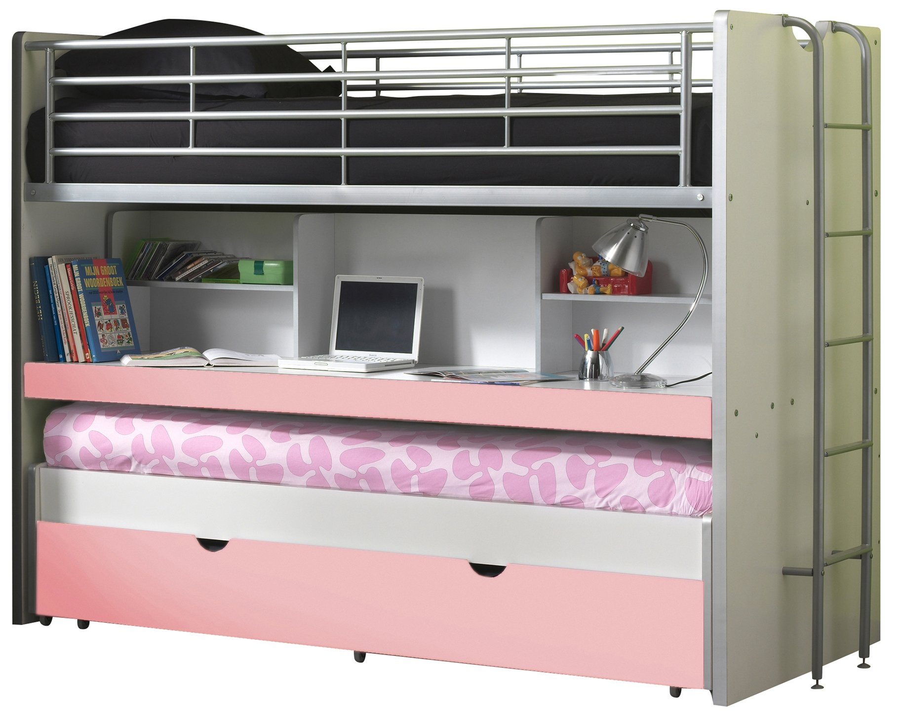 Vipack BOHS8015Bunk Beds Bonny, 207x 116x 98cm, lying surface 90x 200cm, White/Pink Vipack Cabin bed with 2Sleeping surfaces 90x 200cm and 1drawer. Extendable Work Surface. Chipboard White MDF fronts and varnish with fall protection 1