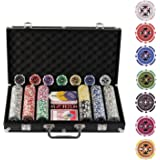 Display4top 300 Piece Texas Holdem Poker Chips Set with Aluminum Case ,2 Decks of Cards, Dealer, Small Blind, Big Blind Buttons and 5 Dice (300 Piece Chips)