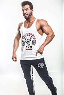 Muscle Works Gym Mens Green Camoflague Stringer Vest Tank Top Training Worlds