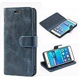 Mulbess Ledertasche im Ständer Book Case / Kartenfach für Huawei P9 Lite Tasche Hülle Leder Etui,Dunkelblau