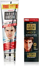 Emami Fair and Handsome 100% Oil Clear Face Wash, 100g with Free Fair and Handsome Laser 12, 15g