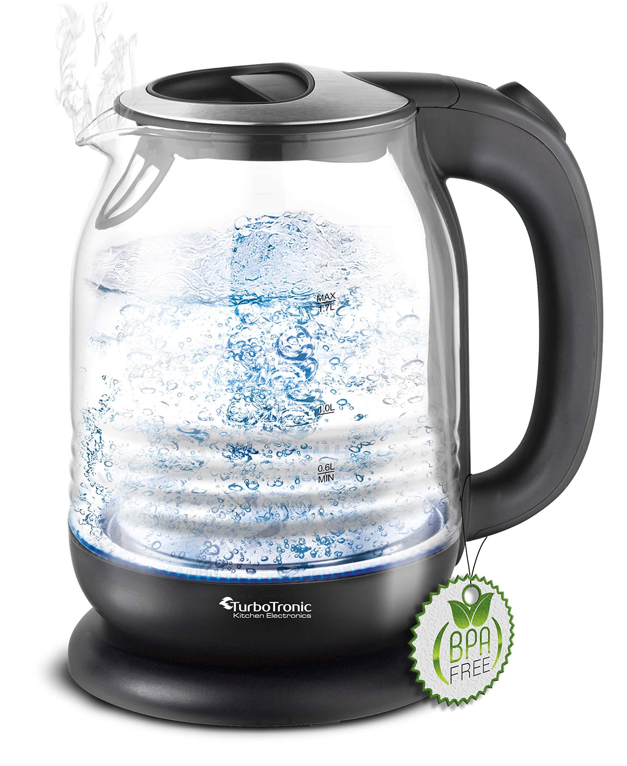 TurboTronic-Glas-Wasserkocher-17-Liter-mit-Kalkfilter-und-LED-Beleuchtung-Blau-innen-BPA-Frei-Leistung-2200-Watt