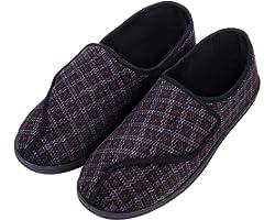 LongBay Men's Diabetic Wide Fit Memory Foam Slippers Comfy Warm Plush Fleece Arthritis Edema Swollen House