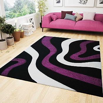 Wohnzimmer Teppich Lila Schwarz Weiß Wellen Muster Friseé Flauschig ...