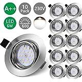 Bojim Lot x10 Spots LED Encastrables Orientable GU10 Lampe Blanc Neutre 4500K de plafond 6W Plafonnier Encastré 600lm Equival