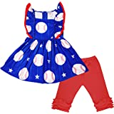 Baby Toddler Little Girls 4th of July Patriotic or Game Day Baseball Red White Blue Capri Set