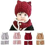 Little Beauty Bonnet B/éb/é Fille Gar/çon et Tour de Cou Tricot/é Doubl/é Rouge 1 /à 3 Ans