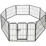 Maxx - Parc Enclos pour Chiens - Porte et 8 Panneaux - Grillage en Fer - Ø 210 cm - Cage pour Chiens Chiots Animaux de Compagnie (80 x 60 cm)