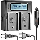 Neewer Dual Ladegerät mit LCD-Display & 3 Plug (USA Stecker + EU Stecker) für Sony Kameras