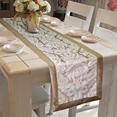 "Lushomes Silver Pattern 3 Jacquard Table Runner With Polyester Border (Size: 16""X72""), Single Piece"