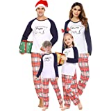 Aibrou Pijamas de Navidad, Conjunto de Pijamas Familiares Navideñas Manga Larga Pijama Familiar a Juego Navidad, Cuello Redon