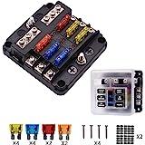 BlueFire Geüpgraded 6-voudige zekeringhouder, 30A 9-32V onafhankelijke werking auto zekeringkast, met 12PCS zekering + LED-wa