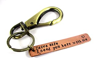 Streetsoul Pure Copper Hand Stamped Bar Keyring On 3 Inch 12 Mm Bars For Women & Men