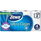 Zewa Ultra Clean Lot de 8 rouleaux de papier toilette 4 plis 135 feuilles