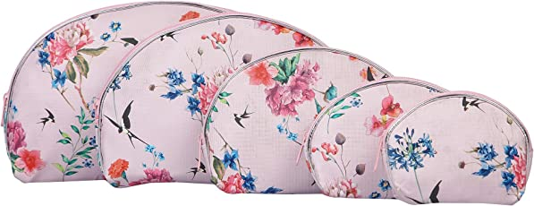 Uberlyfe Flower Printed Multipurpose Pouch or Purse -Pink- Combo of 5 (PU-001714-FLPRT-PK)