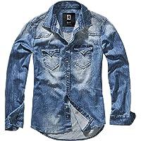 Brandit Jeans Uomo Camicia Riley Maglietta Denim