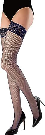 WOOTI Autoreggente Microrete MARGHERITA, Calza a Rete, Sexy, Elegante, Colorata, Morbida e Resistente, Disponibile nei Colori Rosso, Blu, Nero