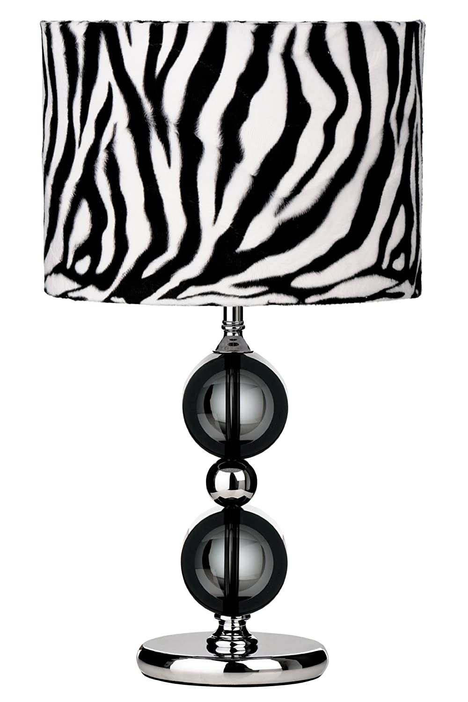 Premier Housewares Two Circle Chrome Table Lamp with Zebra Print ...