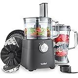 VonShef Robot de Cuisine Multifonction 750W — avec blender, mixeur, presse-fruits, lame de pétrissage, hachoir et râpes — Bol de 1,2 L et pichet de 1,8 L