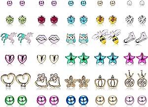 Yadoca 30 Paia Acciaio inossidabile Orecchini per Bambini Mescola Colore Carino Fiore Assortito Palla Rotonda Brillante CZ Orecchini Set per Donne Ragazze